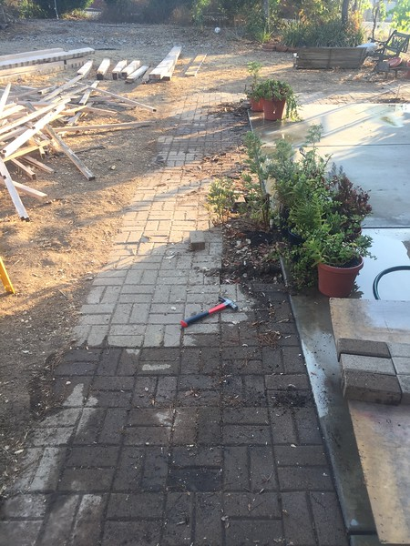 We spent a whole day pulling out these paver bricks. We posted in the local Facebook group to see if anyone wanted them and we had a couple come over and haul them away for free.
