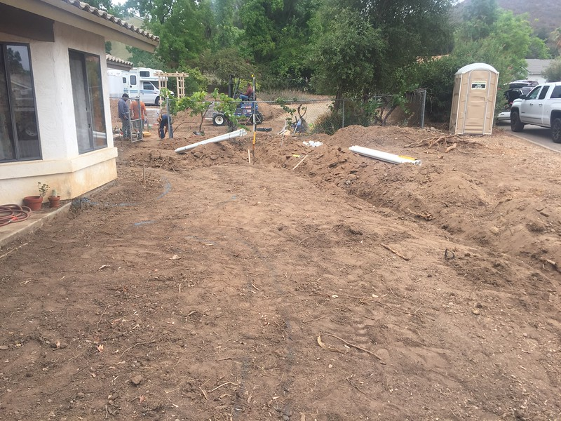 A trench for the drainage lines that go from the back yard to the front yard. This will be under the dry creek bed.