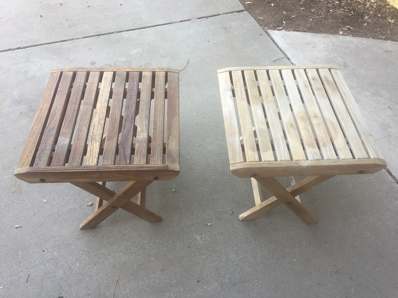 One coat of teak oil on the left and a washed but dry table on the right.