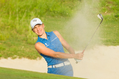 Olafia Kristinsdottir of Iceland plays out of a bunker on the 4th hole during the second round