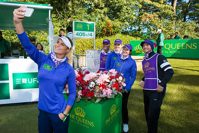 Olafia Kristinsdottir and Carly Booth with Gwladys Nocera on the first tee during the Friday fourballs