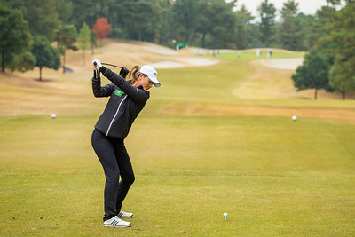 Annabel Dimmock of England on the 10th tee during the Pro-Am