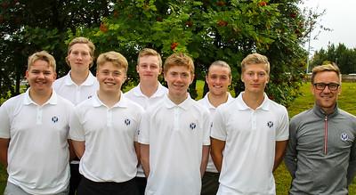 Frá vinstri: Viktor Ingi Einarsson (GR), Kristján Benedikt Sveinsson (GA), Ingvar Andri Magnússon (GR), Daníel Ísak Steinarsson (GK), Dagbjartur Sigurbrandsson (GR),  Ragnar Már Ríkharðsson (GM), Arnór Snær Guðmundsson (GHD) og Jussi Pitkanen afreksstjóri GSÍ.