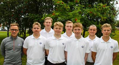 Frá vinstri: Jussi Pitkanen afreksstjóri GSÍ, Viktor Ingi Einarsson (GR), Kristján Benedikt Sveinsson (GA), Ingvar Andri Magnússon (GR), Daníel Ísak Steinarsson (GK), Dagbjartur Sigurbrandsson (GR),  Ragnar Már Ríkharðsson (GM), Arnór Snær Guðmundsson (GHD).