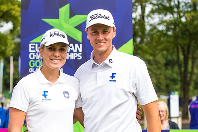 Olafia Kristinsdottir and Axel Boasson of Iceland during the mixed team championship foursomes stroke play event