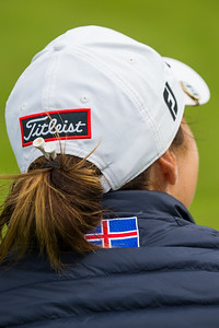 Valdis Jonsdottir of Iceland with an Icelandic flag on her jacket during a practice round