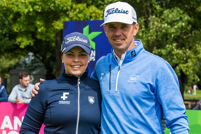 Valdis Jonsdottir and  Birgir Hafthorsson of Iceland during the mixed team championship foursomes stroke play event