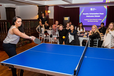 Valdis Jonsdottir during the table tennis tournament during the welcome dinner