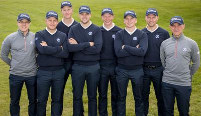 Frá vinstri: Arnór Ingi Finnbjörnsson liðsstjóri, Bjarki Pétursson (GB), Aron Snær Júlíusson (GKG), Henning Darri Þórðarson (GK), Fannar Ingi Steingrimsson (GHG), Gísli Sveinbergsson (GK), Rúnar Arnórsson (GK) og Jussi Pitkänen afreksstjóri GSÍ. Fannar Ingi og Henning Darri eru nýliðar í A-landsliði karla.