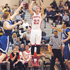 Frankton junior guard Aaron Korn takes a three point shot for the Eagles.