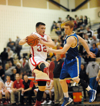 Frankton Eagle Nick Wright steals a pass at midcourt.