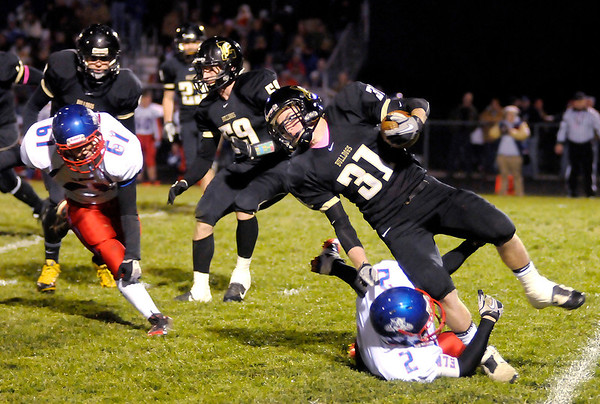 Don Knight/The Herald Bulletin<br /> Lapel hosted Elwood in the first round of sectional action on Friday.