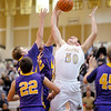 Lapel's Brendon Hardwick grabs a rebound as the Bulldogs hosted the Guerin Catholic Golden Eagles on Saturday.