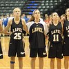 The Lady Bulldogs during the playing of the National Anthem.