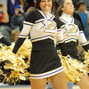 A member of the Lapel cheerleading squad smiles after the Lady Bulldogs claimed victory over Cardinal Ritter.