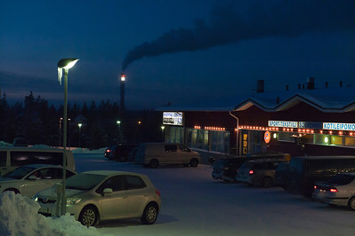 Main (just about only) shopping area in the resort town of Saariselkä, Finnish Lapland.