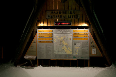 Metsähallitus is the forest management service in Finland. Here, a map of ski routes in Urho Kekkonen National Park, Finnish Lapland.