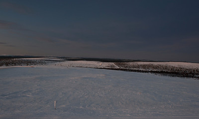 The road from the airport at Ivalo, Finnish Lapland.