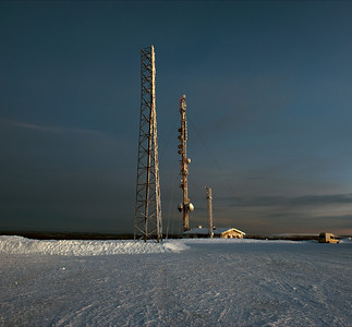 Cell and microwave towers, Finnish Lapland.
