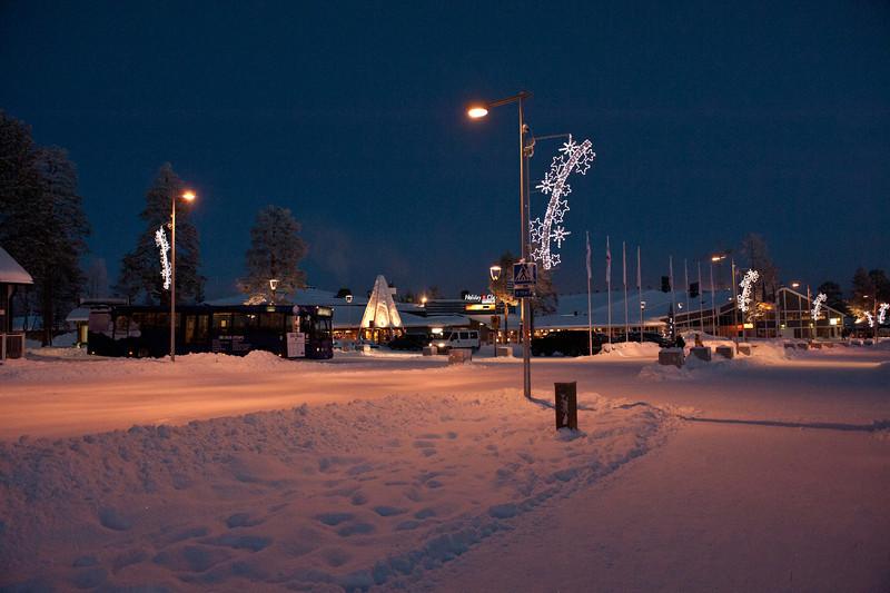 December afternoon on main street, Saariselkä, Finnish Lapland.