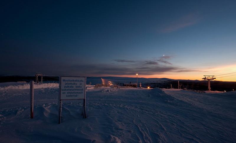 Ski run at Kaunispää Fell, between Ivalo and Saariselkä, Finland. It's a high spot at 437.8 meters.