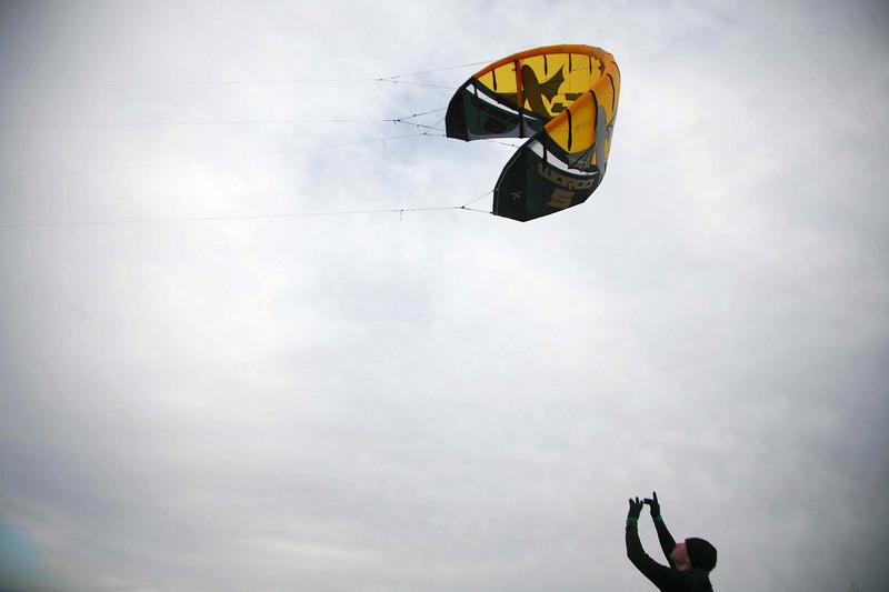 Kitesurfing near Humlebæk, Denmark.