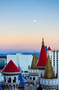 Moon over the Excalibur. Don't tell anybody but the hallway window on the 27th floor of Tower II is not locked. :-)
