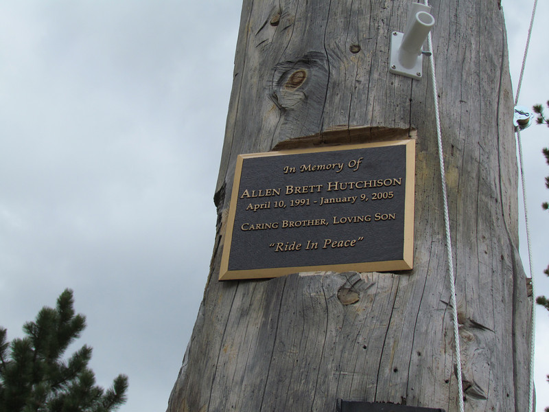 The plaque at the entrance to the ski center honoring the 13 year old boy killed when an avalanche at the top of the one lift swept him off burying him in snow.