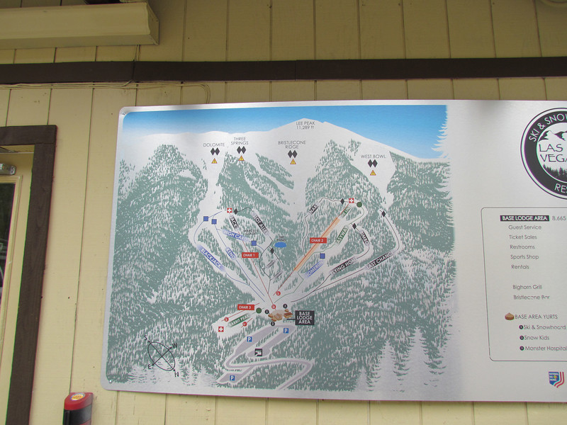 A map of the mountain at the lodge.  Only 3 lifts and 11 runs.  It's a small ski area.