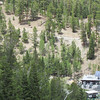 The Bristlecone Trail is above the lodge where the railing is.  The trail is a 6 mile loop.