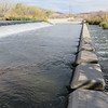 The concrete separators to slow the flow of water.
