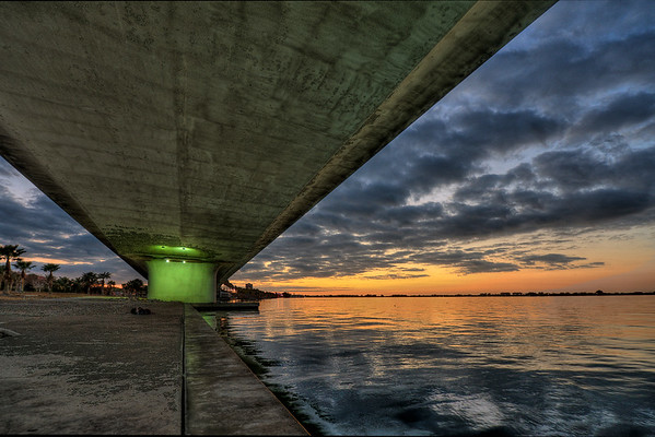 Last 2010 sunset from under the bridge to Bird Key
