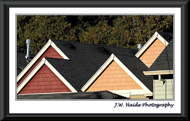 Hillsboro neighborhood gables and rooftops