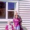 1975 Aunty Mary, Ray and Anne at Pukeliro Ave NEG