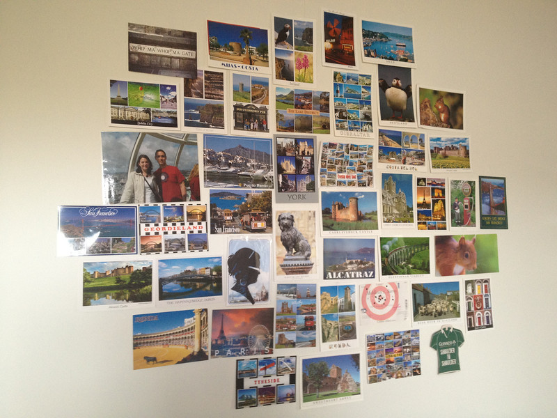 My wall of postcards