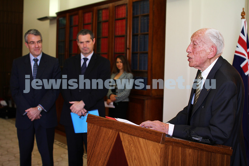 10-5-13. Launch of Israel-Australia stamp at Treasury Place, Melbourne. Max Stern speaking.. Photo:Peter Haskin