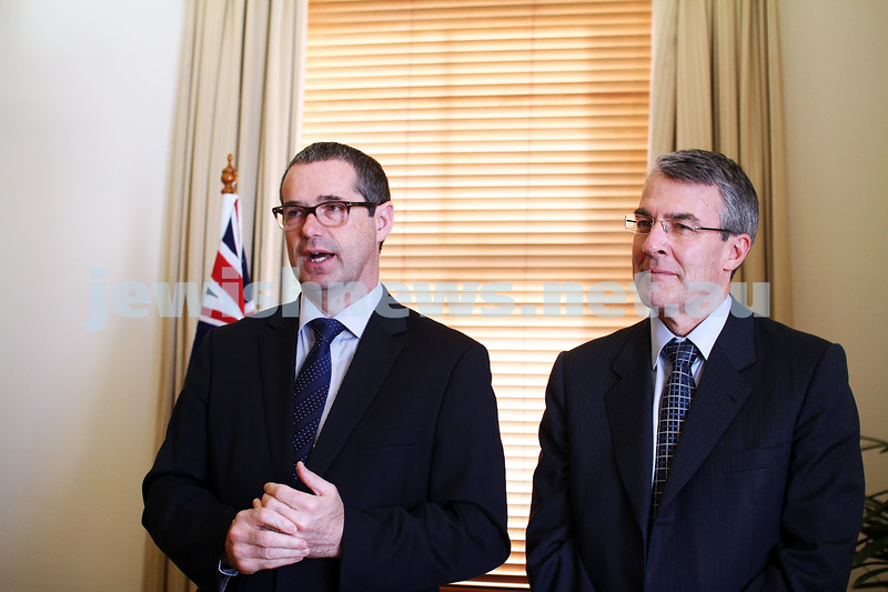 10-5-13. Launch of Israel-Australia stamp at Treasury Place, Melbourne. Minister Stephen Conroy (left) with Mark Dreyfus. Photo: AJN/Peter Haskin
