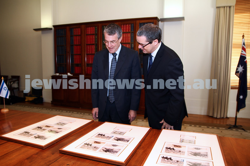 10-5-13. Launch of Israel-Australia stamp at Treasury Place, Melbourne. Mark Dreyfus (left) with minister Stephen Conroy. Photo:Peter Haskin