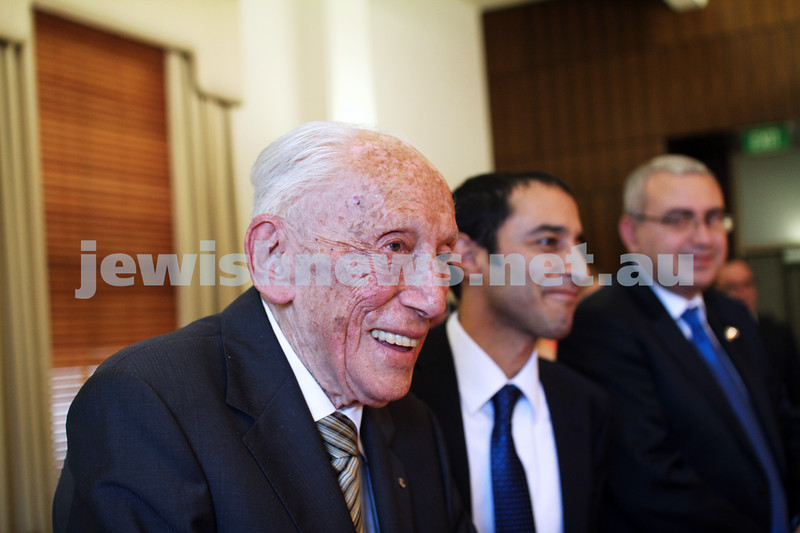 10-5-13. Launch of Israel-Australia stamp at Treasury Place, Melbourne. Max Stern . Photo:Peter Haskin