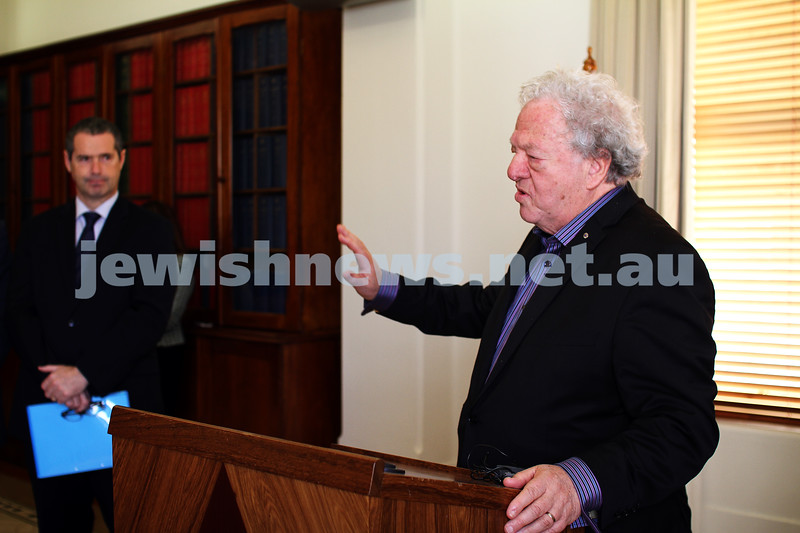10-5-13. Launch of Israel-Australia stamp at Treasury Place, Melbourne. Sam Lipski. Photo:Peter Haskin