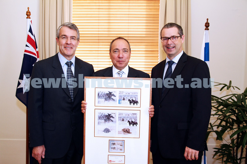 10-5-13. Launch of Israel-Australia stamp at Treasury Place, Melbourne. From left: Mark Dreyfus, Israeli ambassador Yuval Rotem, Minister Stephen Conroy.. Photo:Peter Haskin
