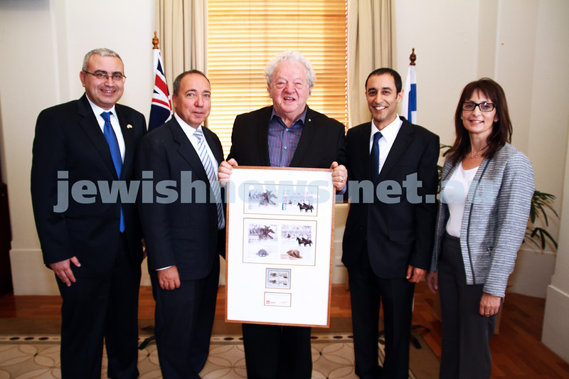 10-5-13. Launch of Israel-Australia stamp at Treasury Place, Melbourne.  Photo:Peter Haskin