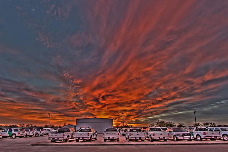 Sun set in a boder town