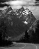 Image #1420. The road that leads to Grand Teton National Park (Black and White version).