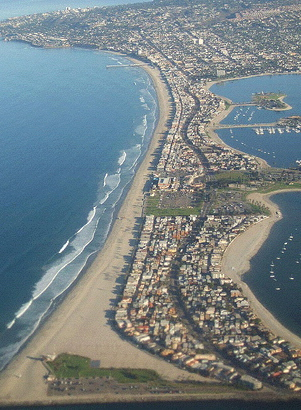 Aerial view of Mission Beach with Pacific Ocean on left and Mission Bay on right