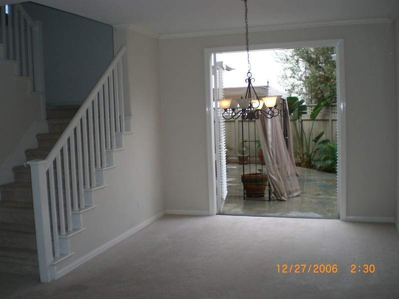 Dining room, chanderlier with french doors leading to private patio.