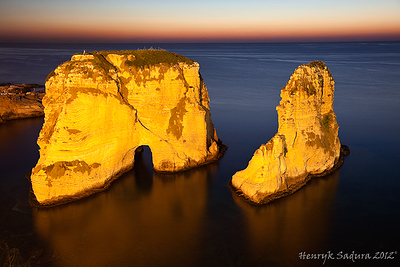 Pigeon Rocks in Beirut - sunset time