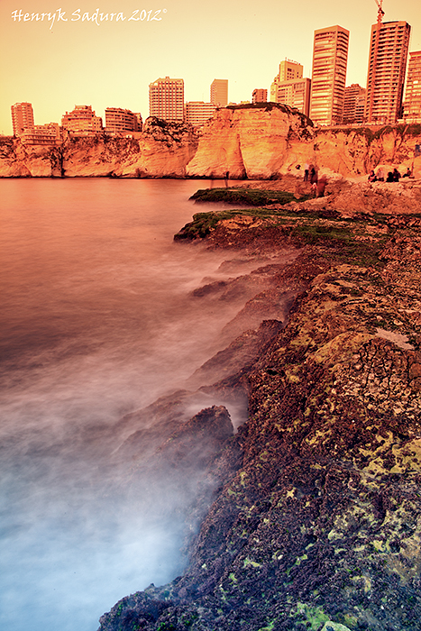 Pigeon Rock and Beirut architecutre at sunset
