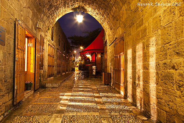 Old Town in Byblos - souks seen evening time