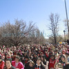 Hundreds of people gathered to participate in the One Billion Rising flash mob a the state Capitol on Thursday.  Jane Phillips /The New Mexican.